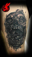 Evil Skull Tattoo by Jackie Rabbit