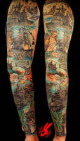 Navy Ship Sleeve Tattoo by Jackie Rabbit