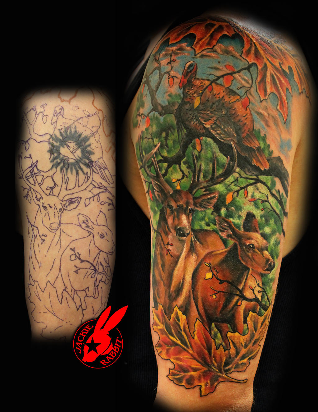 Deer hunting tattoo sleeve the image for Tattoo cover sleeves