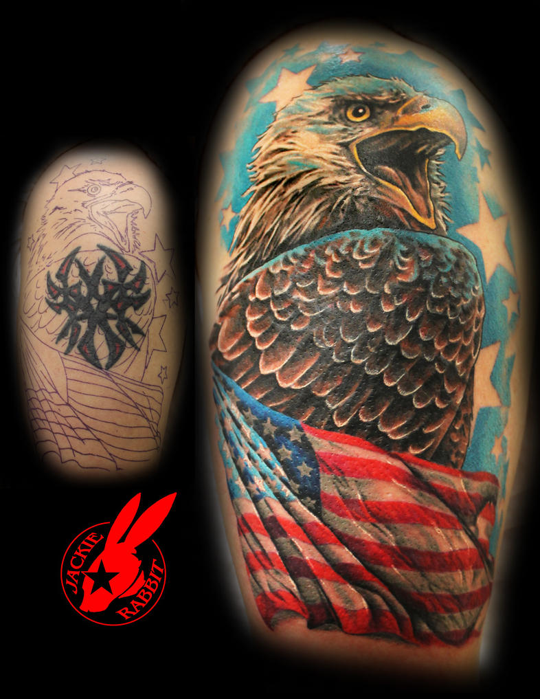 Eagle flag tribal cover up tattoo by jackie rabbit by for Patriotic tribal tattoos