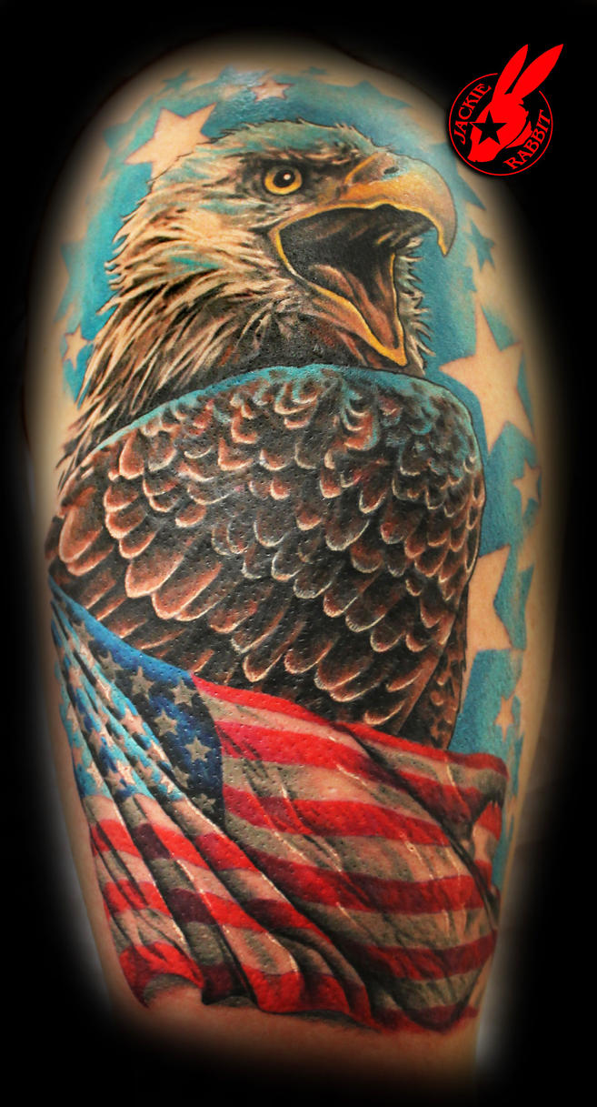 American flag eagle tattoo by jackie rabbit by for American flag eagle tattoo