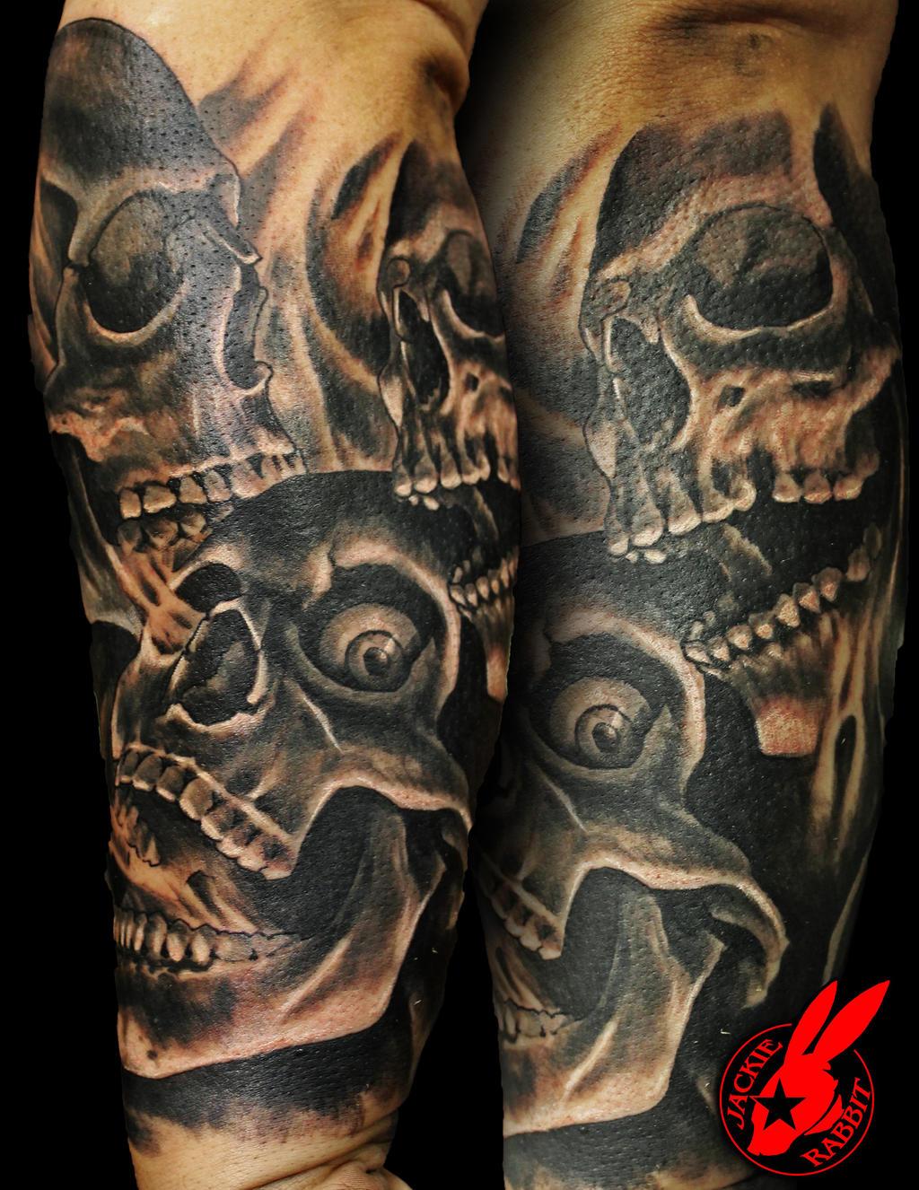 Skulls And Smoke Tattoo Sleeve - Interior Home Design