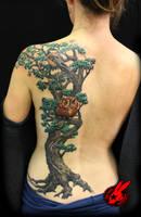 Tree Bird Owl Back Tattoo by Jackie Rabbit by jackierabbit12