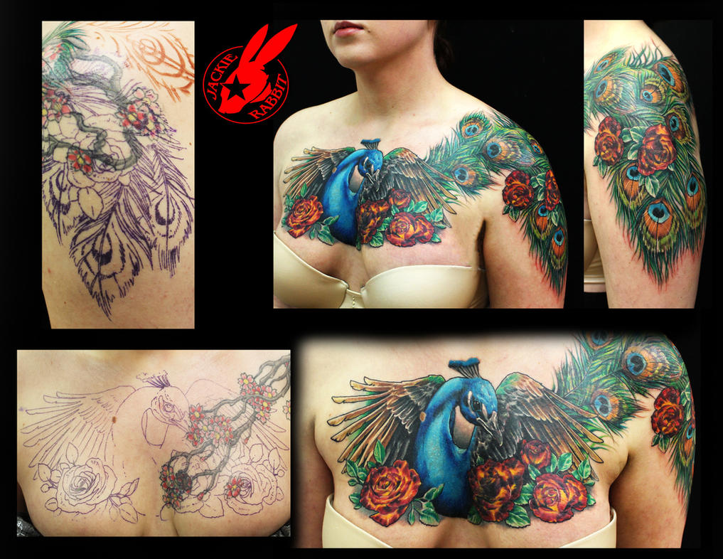 Peacock feather cover up tattoo by jackie rabbit by for Chest cover up tattoos