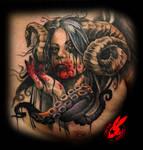 Demon Queen Portrait Tattoo by Jackie Rabbit