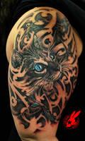 Blue Eye Cat and Bird Tattoo by Jackie Rabbit