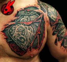 Armor Tear Out Tattoo by Jackie Rabbit by jackierabbit12