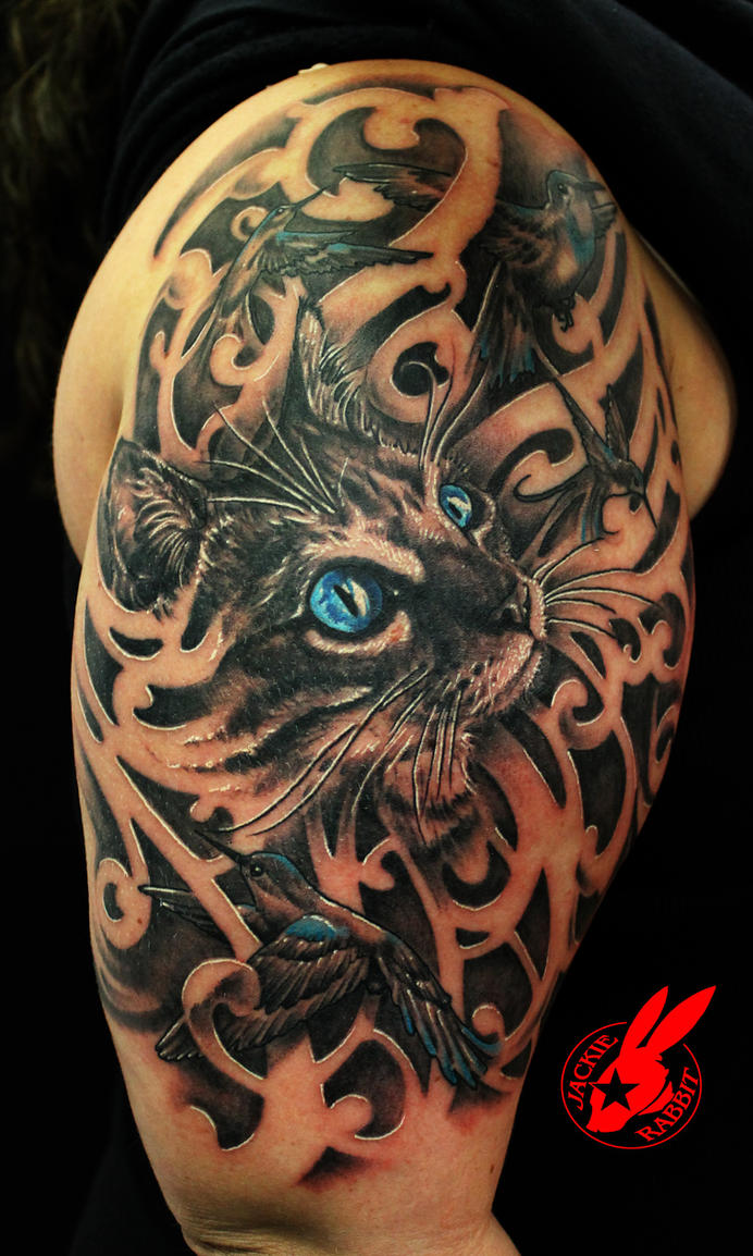 Blue eye cat and bird tattoo by jackie rabbit by for Cool cat tattoo