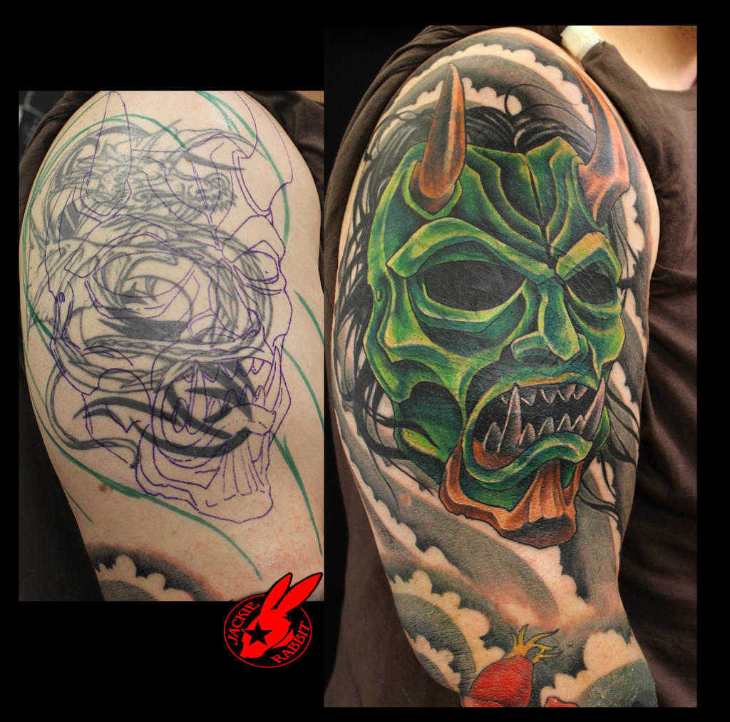 Oni Mask Tattoo: Oni Demon Mask Cover Up Tattoo By Jackie Rabbit By
