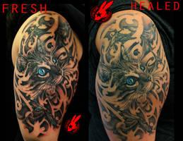 Healed Cat Tattoo by Jackie Rabbit by jackierabbit12