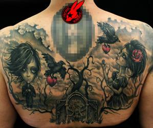 Toon Hertz Back Tattoo by Jackie Rabbit