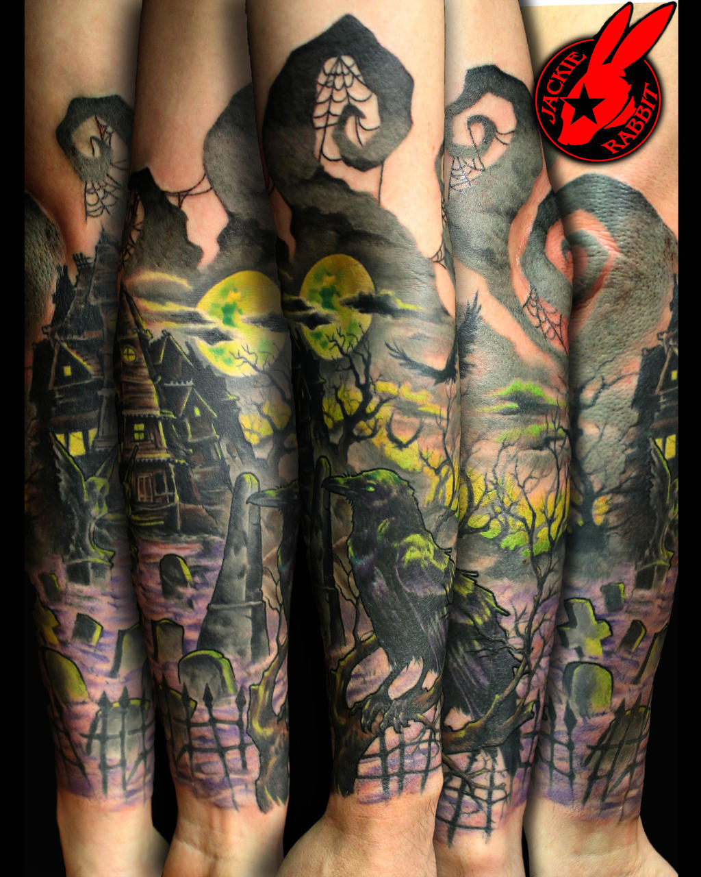 Graveyard crow evil sleeve tattoo by jackie rabbit by for Evil tattoo sleeve