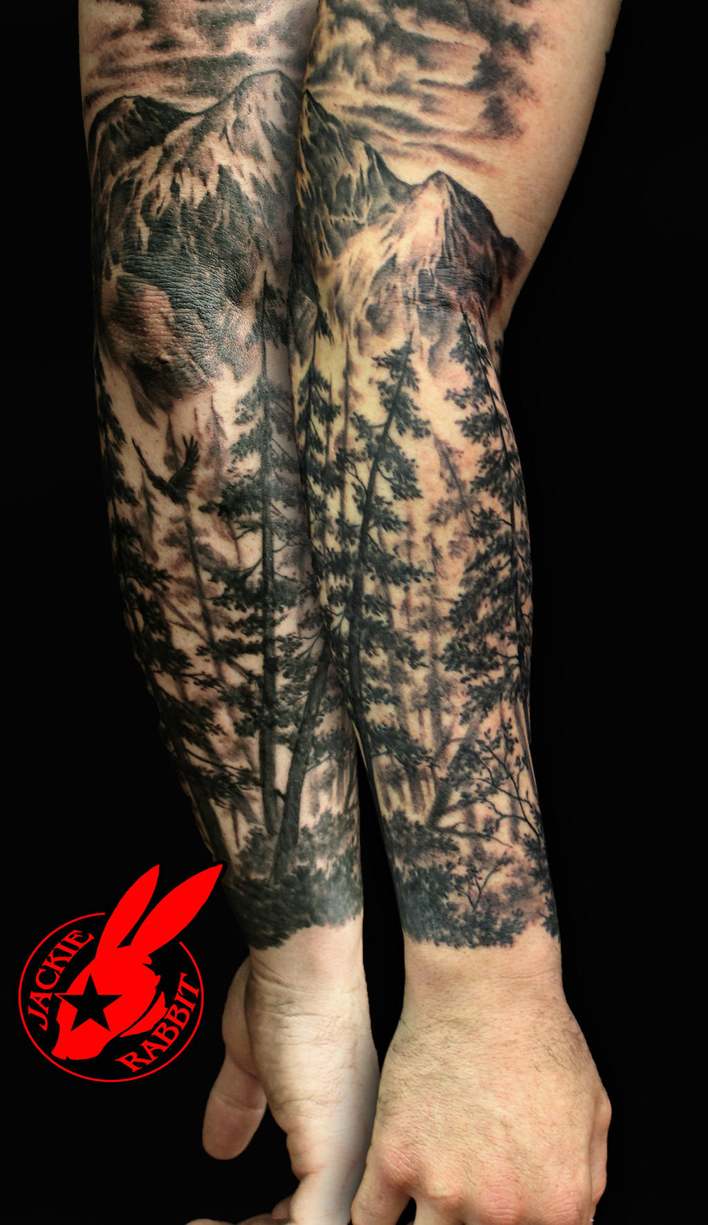 Forest Nature Tree Sleeve Tattoo by Jackie Rabbit by ...