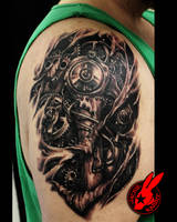 SteamPunk BioMech Tear Out Tattoo by Jackie Rabbit by jackierabbit12