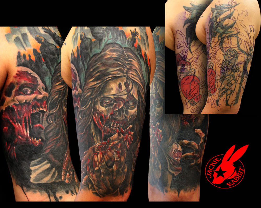fcc6ee33c5f68 ... Scottish Skull Cover Up Tattoo By Jackie Rabbit By: Zombie Cover Up Sleeve  Tattoo By ...