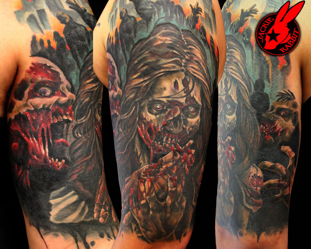 4d4cc66503629 ... Scottish Skull Cover Up Tattoo By Jackie Rabbit By: Zombie Sleeve Tattoo  By Jackie Rabbit ...