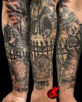 Graveyard Tombstone Sleeve Tattoo by Jackie Rabbit by jackierabbit12