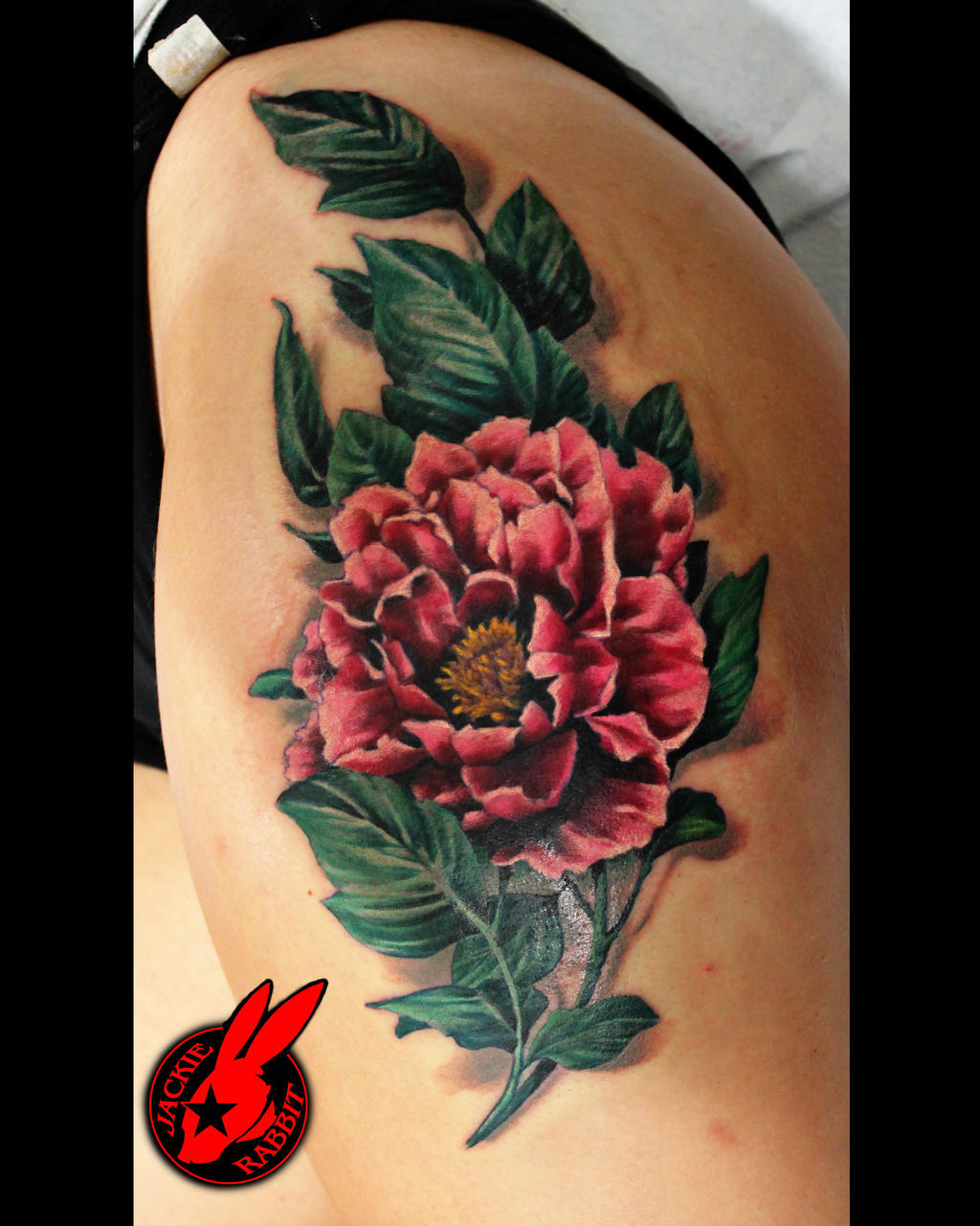 Realistic Flower Tattoo Designs: Realistic Hip Flower Tattoo By Jackie Rabbit By