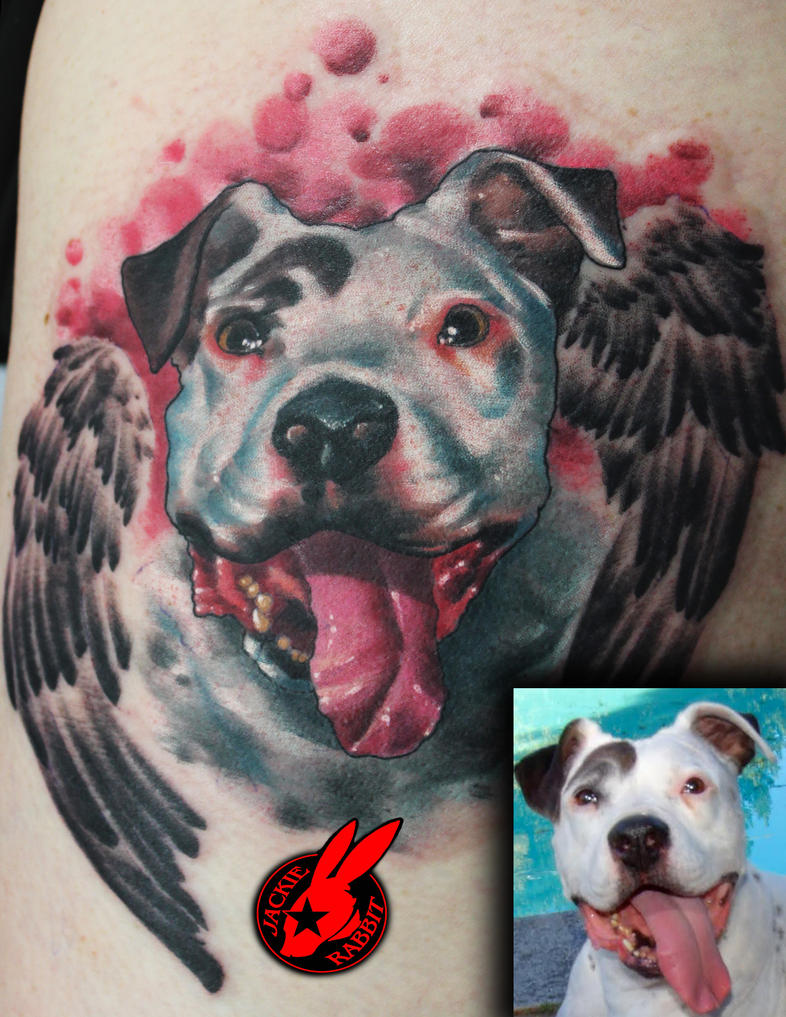 Pitbull Dog Portrait Tattoo by Jackie Rabbit by ...
