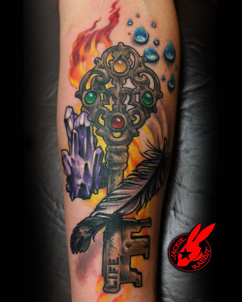 Antique Key four Elemnts Tattoo by Jackie Rabbit by jackierabbit12