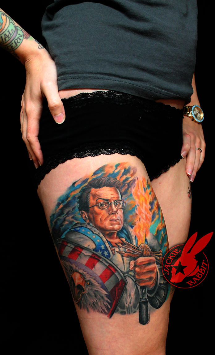 Stephen Colbert Portrait Tattoo by Jackie Rabbit by jackierabbit12