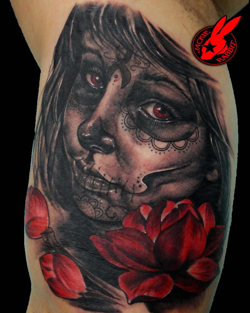 Sugar Skull Woman Portrait Tattoo by Jackie Rabbit by jackierabbit12