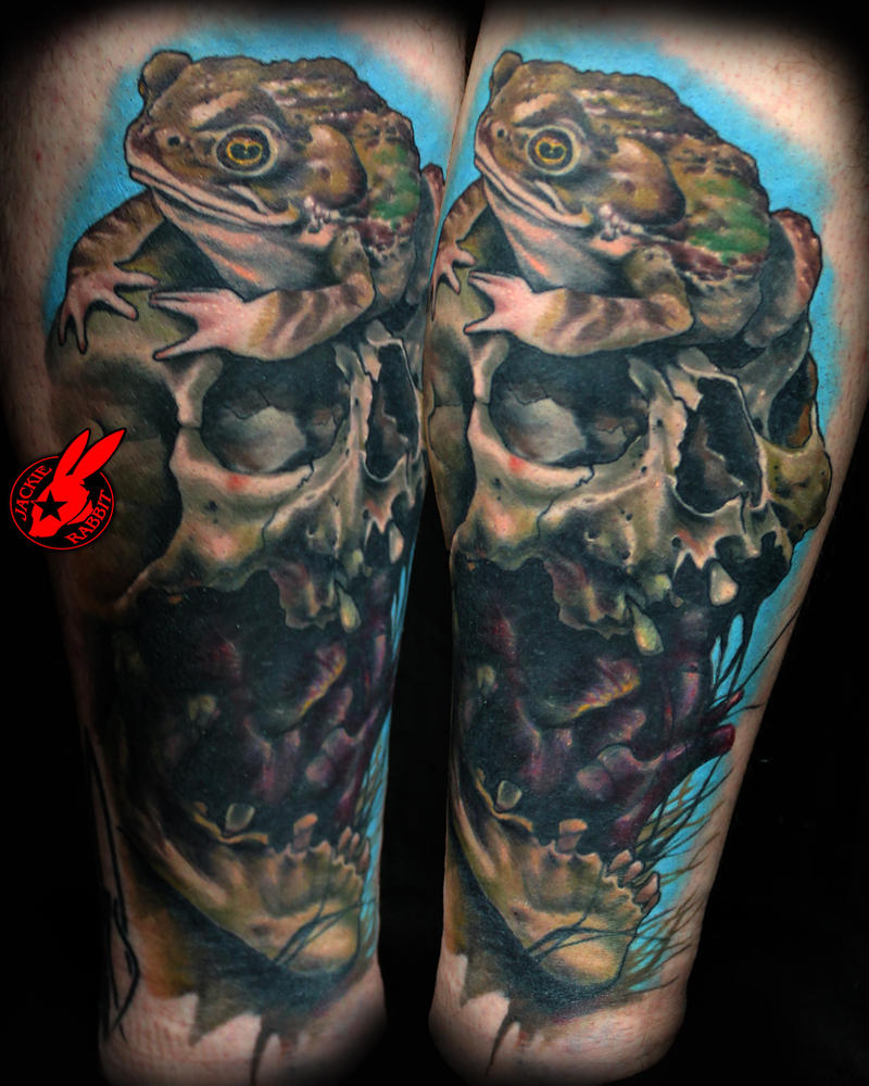Healed Toad Skull Tattoo by Jackie Rabbit by jackierabbit12