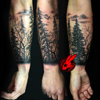 Tree sihlouette Arm Tattoo by Jackie Rabbit by jackierabbit12
