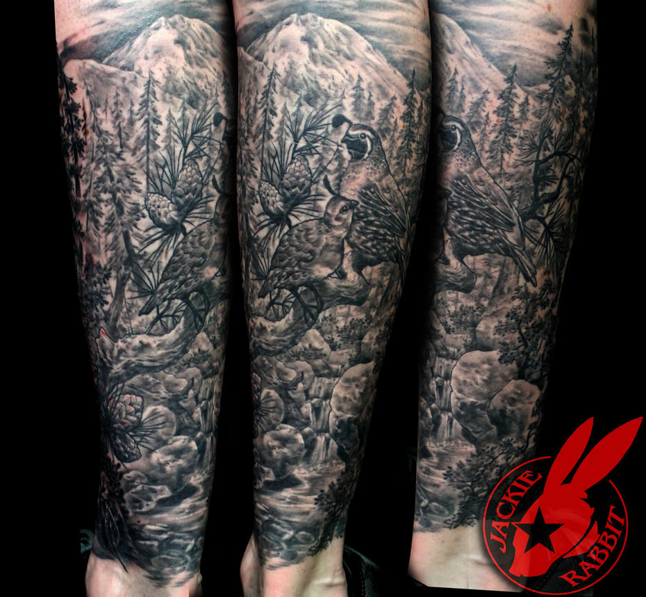 Realistic Nature Scene Tattoo by Jackie Rabbit by jackierabbit12