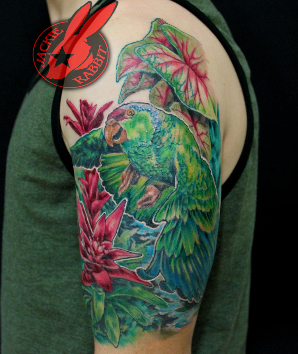 Amazon parrot sleeve tattoo by jackie rabbit by for Tattoo sleeves amazon