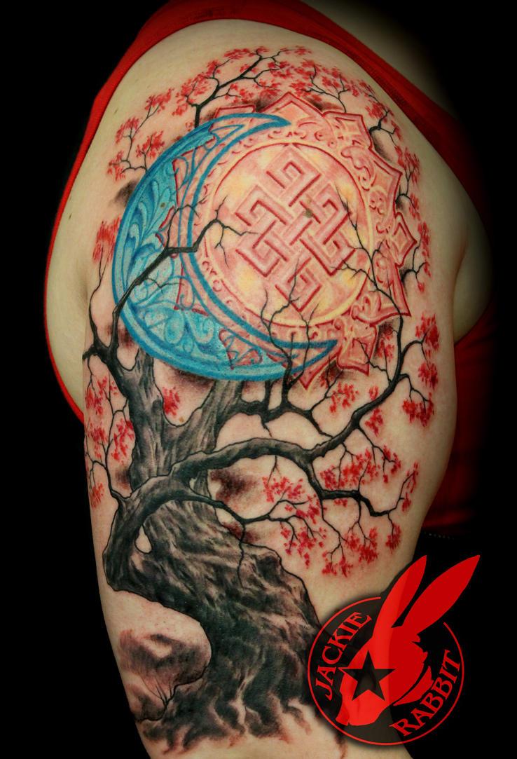 Sun Moon Cherry Tree Sleeve Tattoo  Jackie Rabbit by jackierabbit12