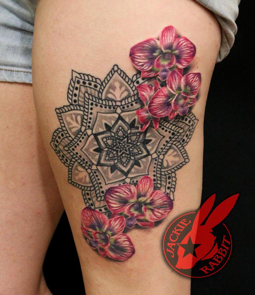 Mandala Orchid Tattoo Jackie Rabbit and  Mary Jane by jackierabbit12