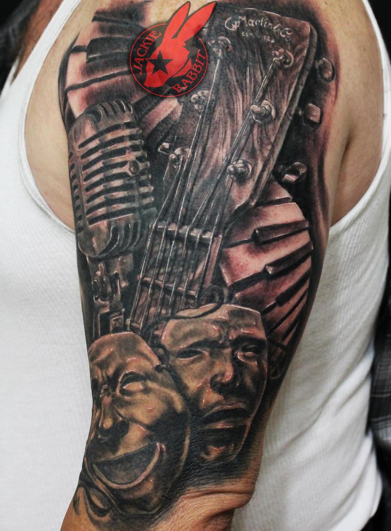 Piano Microphone Music Masks Tattoo Jackie Rabbit by jackierabbit12
