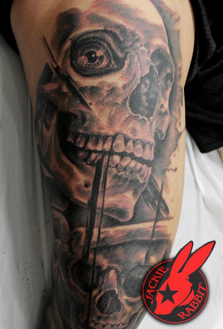 Polka Trash Realistic Skull Tattoo  Jackie Rabbit by jackierabbit12