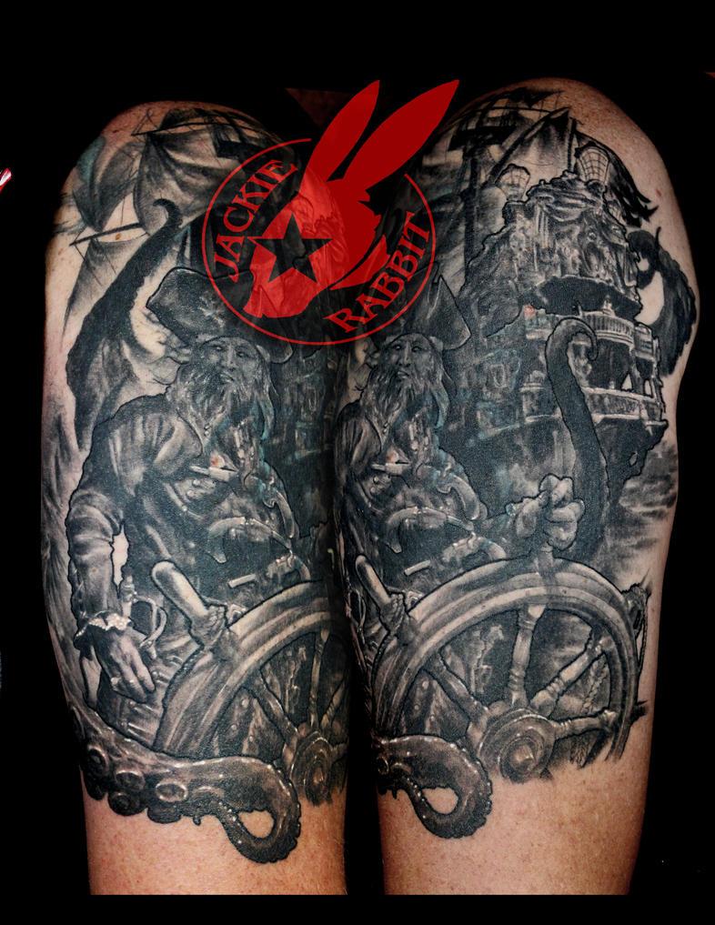 Pirate Ship Octopuss Sleeve Tattoo  Jackie Rabbit by jackierabbit12