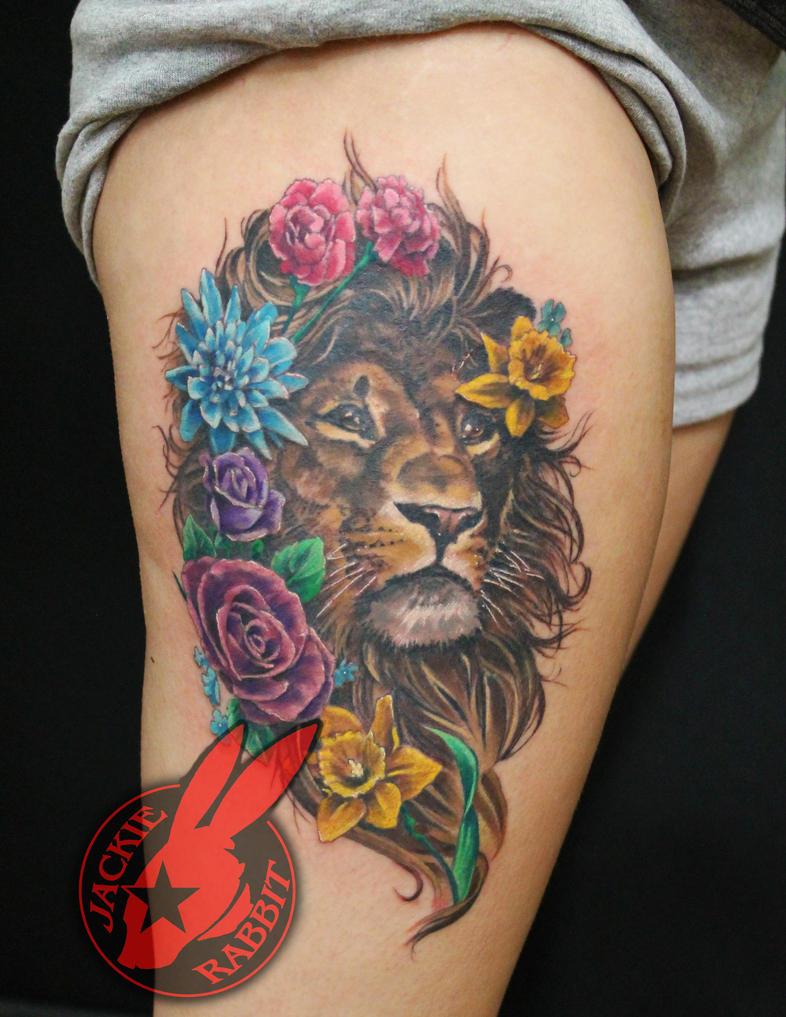 Lion Portrait Flowers Tattoo By Jackie Rabbit By Jackierabbit12 On