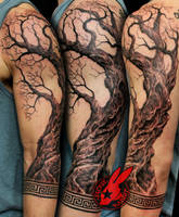 Realistic Tree Greek Patern tattoo Jackie Rabbit by jackierabbit12