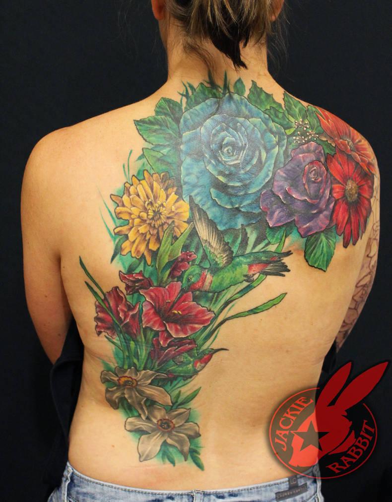 91430c765ec4f Flower Garden Bird Back Piece Tattoo Jackie Rabbit by jackierabbit12 ...