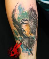 Chickadee Bird Watercolor 3d Tattoo Jackie Rabbit by jackierabbit12