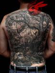Realistic Tree Skulls Back Tattoo by Jackie Rabbit