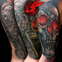 Realistic 3D Skull Skey Gears Tattoo Jackie Rabbit by jackierabbit12