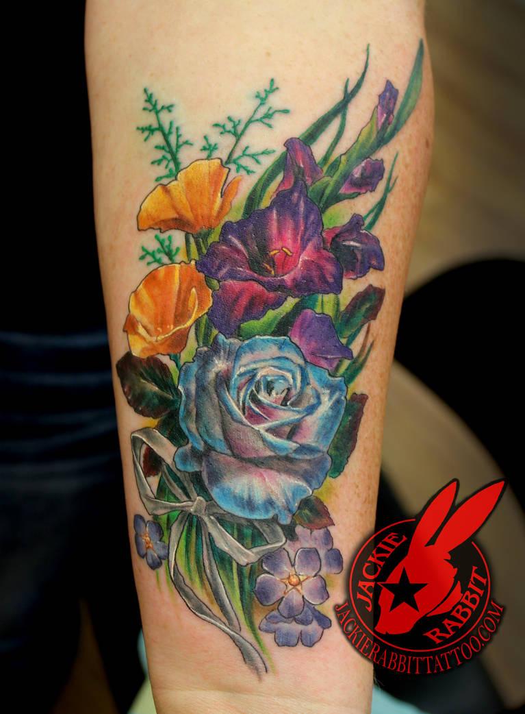 0eca1956ca5b3 Flower Rose Poppy Ribbon Tattoo by Jackie Rabbit by jackierabbit12 ...