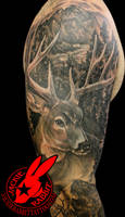White Tail Buck Deer Tree Tattoo Jackie Rabbit