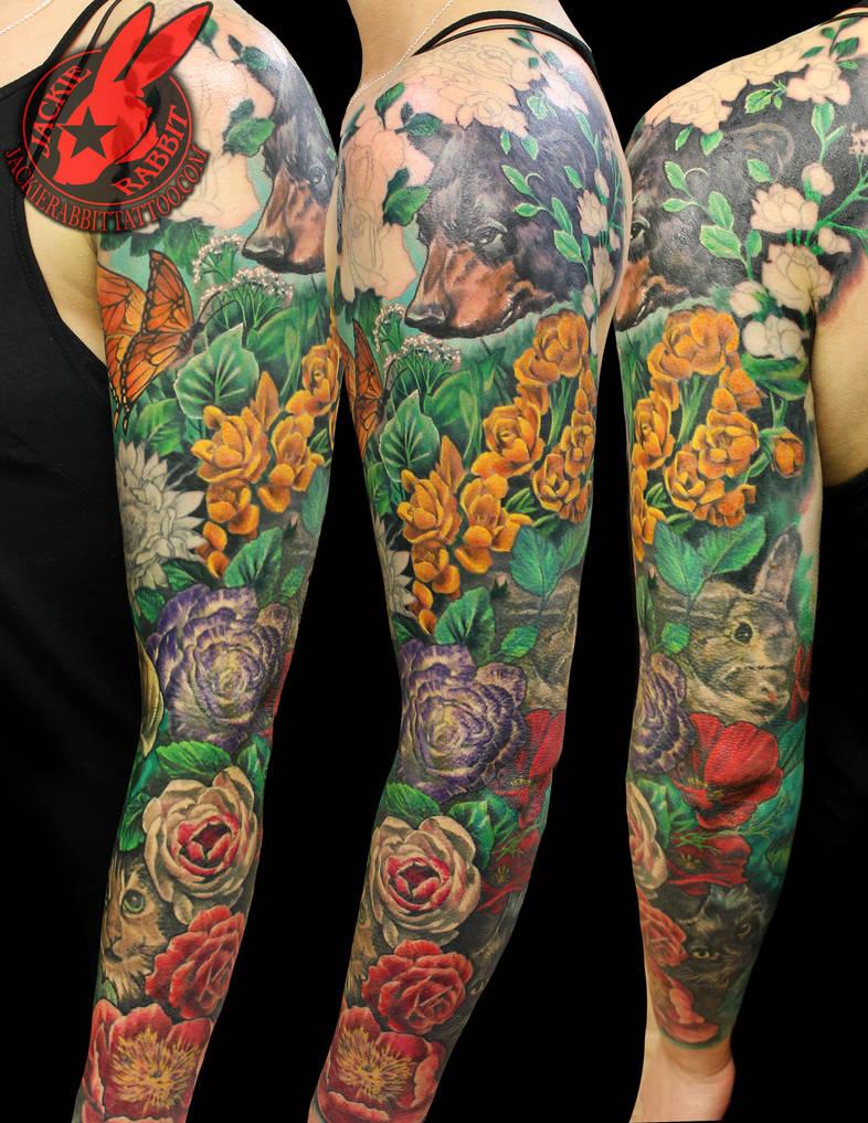 4ce048361e724 Flower Garden animal tattoo by Jackie Rabbit by jackierabbit12 on ...