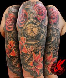 51bf52ef49267 Lace Watch Key Skull Rose Tattoo Jackie Rabbit by jackierabbit12