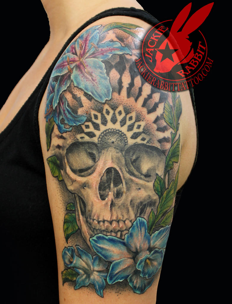 Skull Mandala Blue Flower Tattoo Jackie Rabbit By Jackierabbit12 On