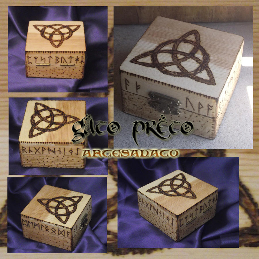 Pyrography Triskle Runes Box by GatoPretoArtesanato