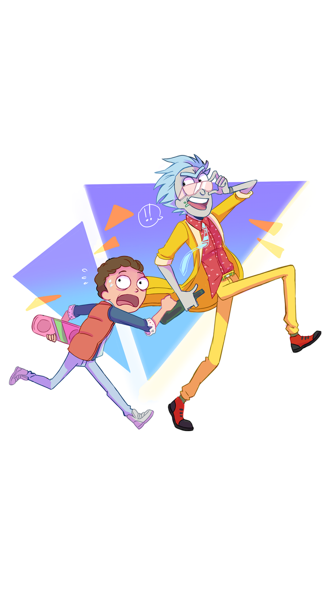 rick and morty bttf style wallpaper (for mobile)halukaliev on