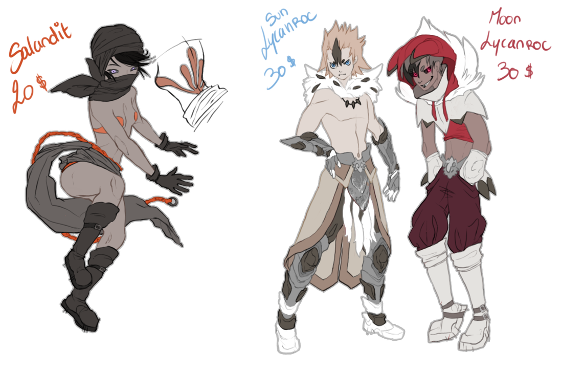OPEN PAYPAL ADOPTABLES - Pkmn set 1 by SorahChan