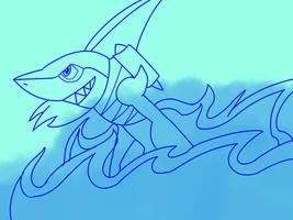 Inktober 18 Sharkman by Ajustice90